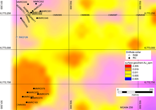 Figure 13: Hurley & T17 target area drill hole location and gold geochemistry