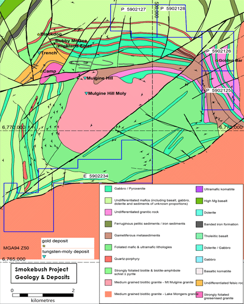 Figure 2: Interpreted Geology Mt Mulgine with the Smokebush tenements in blue outlines