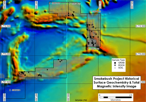Figure 4: Thematic map showing historical surface geochemical samples