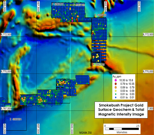 Figure 5: Thematic map of surface gold geochemistry